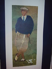 "Bart Forbes golf art print  "" The Golfer "" Vintage Male HAND SIGNED! Classic"