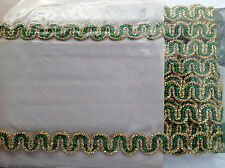 GOLD & GREEN LUREX BRAID TRIMMING EDGING 13 YARDS 1.5CM WIDE CRAFTING COSTUMES