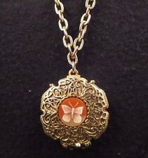 Vintage Corday Butterfly Cameo Filigree Perfume Locket Chain Necklace Gold Tone