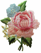"#4028 3"" Pink Peony Bouquet Flower Embroidery Iron On Applique Patch"