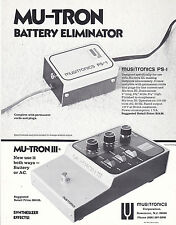 VINTAGE AD SHEET #3134 - 1975 MUSITRONICS MU-TRON BATTERY ELIMINATOR