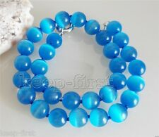 """New Fashion 10mm Natural Blue Cat's Eye Round Gemstone Beads Necklace 18"""" AAA"""
