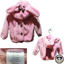 Gymboree Pink Bunny Ear Hoodie Cardigan Sweater Fuzzy Baby 6-12 Months Toddler
