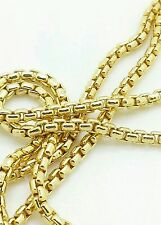 "14k Yellow Gold Round Box Link Necklace Pendant Chain 24"" 1.7mm"