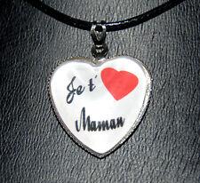 """collier pendentif coeur de verre """"Je t'aime maman"""" cadeau pour la fête des mères"""