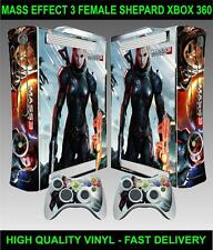 XBOX 360 CONSOLE STICKER MASS EFFECT 3 FEMALE SHEPARD SKIN & 2 PAD SKINS