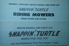 Snapper SNAPPIN TURTLE & Riding Lawn Mower Operating, Service & Parts (2 Manuals