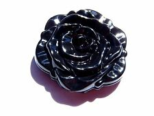 BLACK ROSE COMPACT MIRROR gothic lolita flower small rockabilly retro plastic H1