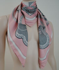 HERMES PARIS Grand Apparat Pale Pink Silver Grey & White Silk Equestrian Scarf