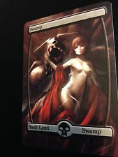 Custom Made Full Art Magic the Gathering Swamp Land Anime Woman EDH Card