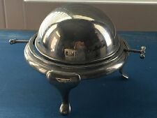 Vintage Silver Plate Roll Top Domed Caviar or Butter Server Unmarked