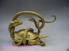 lucky china fengshui brass Longevity turtle Tortoise snake wealth animal statue