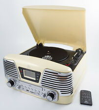 GPO MEMPHIS CREAM, 4 IN 1 VINYL TURNTABLE, CD PLAYER, MP3 PLAYER, FM RADIO