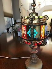 ANTIQUE MARBLE  & GOLD METAL Handcrafted Moroccan  Jeweled Table Lamp Light