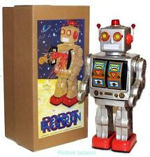ME100 Robot Tin Toy Battery Operated Silver with Gold Doors Version NEW!