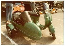 2 antique motorcycle/scooter photos restored vespa w/side car at swap meet 1980