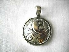 NEW EIGHT BALL CAST PEWTER PENDANT ADJ CORD NECKLACE BILLIARDS 8 BALL HALL GAMES