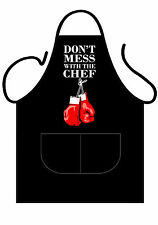 "MENS,WOMENS,UNISEX,BLACK PRINTED NOVELTY APRON,BBQ,DONT MESS WITH CHEF"" AS ADULT"