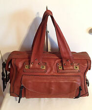CHLOE Brown Brick Genuine Leather Shoulder Bag Handbag