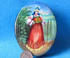 Russian hand pained trinket UNIQUE LACQUER Box Beauty at the fence signed Kotova