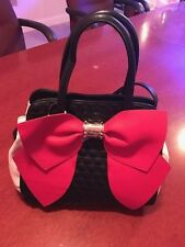 NWT BETSEY Johnson Oversized Bow Satchel HandBag Shoulder Bag red/black White