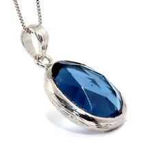 GENUINE NATURAL IOLITE WATER SAPPHIRE 8.5CT 925 STERLING SILVER PENDANT NECKLACE