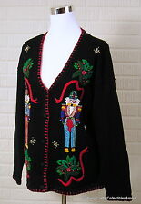 Ugly Christmas Sweater Victoria Jones Nutcracker Sz Large Toy Soldier Beaded