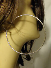 LARGE 3 inch HOOP EARRINGS SIMPLE THIN HOOPS SHINY TEXTURED SILVER OR GOLD TONE