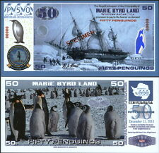 NEW POLYMER 11.12.13 MARIE BYRD LAND 50 PENGUINO SPECIMEN FANTASY ART BANKNOTE!