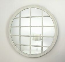 "Roanne White Shabby Chic Round Window Wall Mirror 48"" x 48"" X Large"