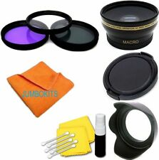 58MM WIDE ANGLE MACRO LENS + HOOD + FILTER KIT FOR CANON EOS REBEL DSLR CAMERAS