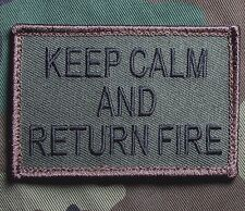 KEEP CALM AND RETURN FIRE US TACTICAL FOREST VELCRO® BRAND FASTENER MORALE PATCH