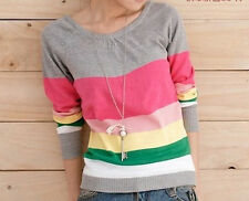 Rainbow stripe Light Jumper , size 8 UK. candy stripes, striped, bright