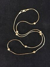 "14k Yellow Gold Station Necklace 18"" Long 5.9 Grams Italy"
