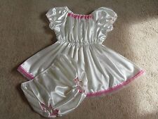 White Sissy ABDL Adult Baby Satin Dress & Bottom Diaper Cover