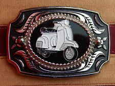 NEW HANDCRAFTED LARGE VESPA MOTOR SCOOTER BELT BUCKLE SILVER/BLACK METAL MODS