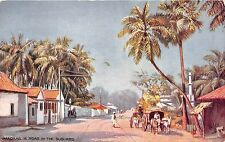 India postcard Chennai Madras A Road in the Suburbs street scene Tuck 1906