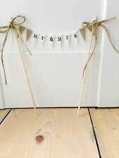 "Jute Vintage Country ""MR&MRS"" Fabric 1 Tier Bunting Cake Topper wedding"