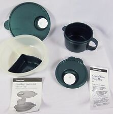 NEW Tupperware Crystal Wave Lunch Divided Dish and soup mug Set