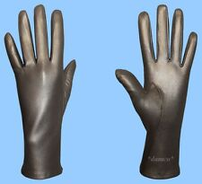NEW WOMENS size 6.5 GENUINE GREY KID LEATHER SILK LINED DRESS GLOVES