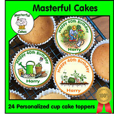 24 PERSONALISED GARDENING DESIGN EDIBLE RICE PAPER CUP CAKE TOPPERS