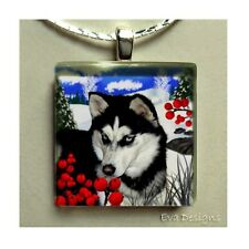 SIBERIAN HUSKY DOG WINTER BERRIES CHARM JEWELRY ART GLASS TILE PENDANT NECKLACE