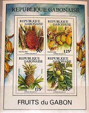 GABON GABUN 1989 Block 62 S/S 668a Fruits Früchte Flora Ananas Kokos MNH