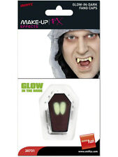 Halloween Fancy Dress Vampire Dracula Glow In Dark Tooth Caps 2 x Fangs Smiffys