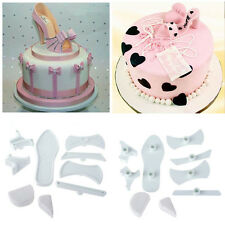 9Pcs High-Heeled Shoes Baking Icing White Mould Fondant Cutter Cake Decorating