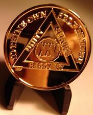 24K Gold Plated Alcoholics Anonymous AA 25 Year Medallion Token Coin Chip Sober