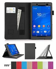 Sony Xperia Z3 Compact Tablet Case Leather Stand Card Slots Pocket Elastic New