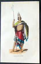 1845 Dally Antique Print of a Warrior of the West Timor Island of Rote Indonesia