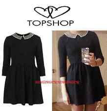 Topshop Nero Ruvido Pearl Gem Impreziosito COLLETTO VINTAGE 60s Celeb Skater Dress 8