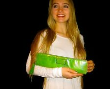 RARE KATE SPADE NY FLICKER NEON GREEN CLUTCH PURSE LELLA LEATHER LONG SLIM BAG